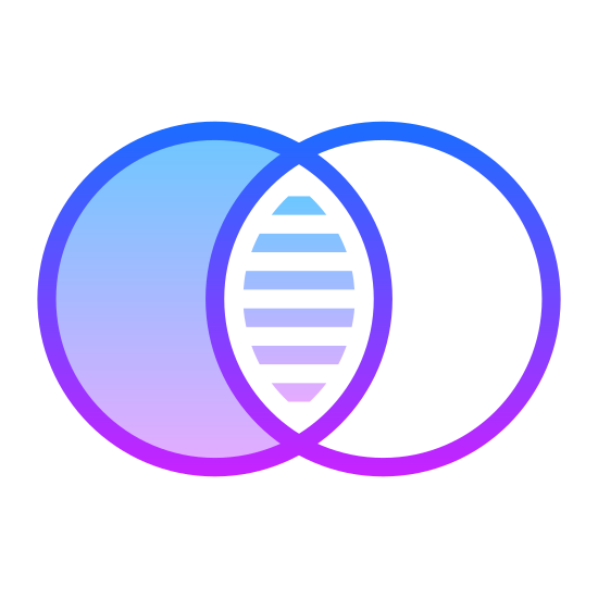 Maestro icon. It is a venn diagram consisting of two identical, side-by-side circles. The circles partially overlap, the parts that do not overlap are hallow, and the part that does is filled in.