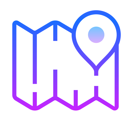 Map Marker icon. It's a logo that represents a map marker.  In the middle of the logo is a upside down teardrop with a circle in the middle of it.  The teardrop is point to an exact location on a map.  The logo also has an open road map that is a trifold.