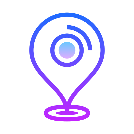 Marker icon. The icon is described as a marker and is an arrow shape pointing downward with a round base, which could also be described as a pin. This icon would normally see as marking a position on a digital map.