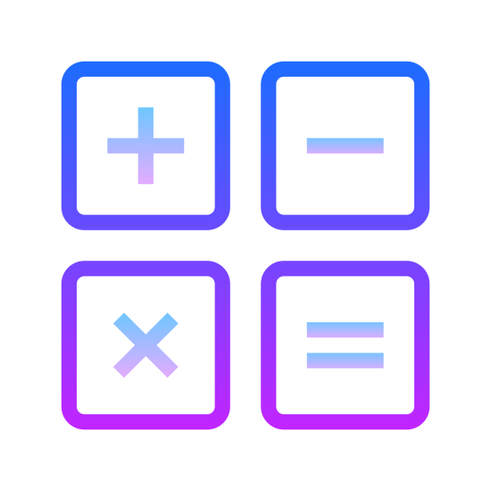 """Math icon. This """"math"""" icon consists of a perfect square divided in quarters perfectly, vertically and horizontally. In the upper left quarter is the perfect cross of the """"addition sign."""" In the upper right quarter is the horizontal line of the """"subtraction sign."""" In the lower left quarter is the two diagonal lines of the """"multiplication sign."""" In the lower right quarter are the two vertical lines of the """"equal sign."""""""