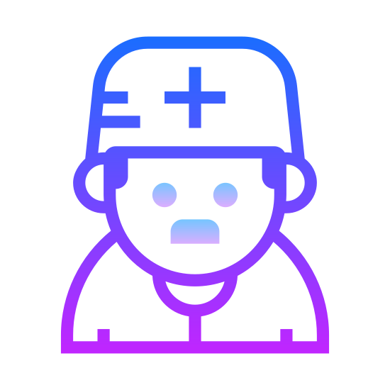Medical Doctor icon. The icon is a picture of the logo for Medical Doctor. The icon is what appears to be a human being in a nurses costume. The human has no neck attaching its head to its body. There is a plus symbol on the persons hat.