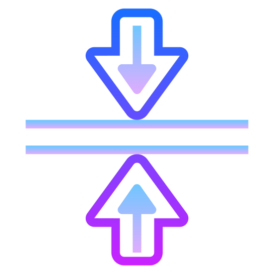 Scal w poziomie icon. This logo has what looks like a street or a sidewalk in the middle of it with 2 lateral lines.  On the top of it there is an arrow pointing down and on the button there is an arrow pointing up and the arrows are perfectly lined up.