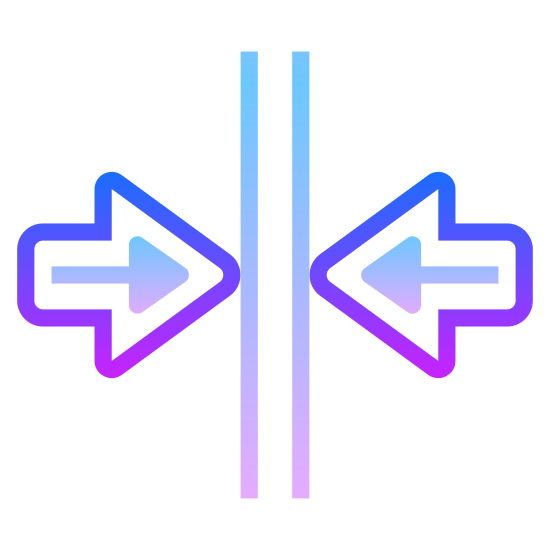 Merge Vertical icon. A logo that is for driving indicating merging lanes. Two vertical parallel lines with a right and left arrows points towards the side of each of the vertical lines.