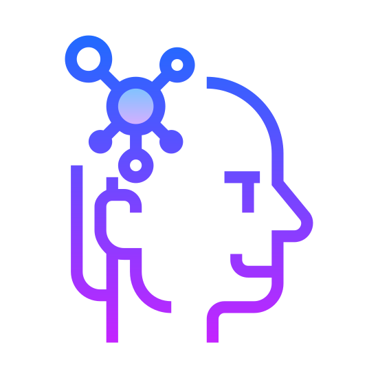"""Mind Map icon. This is a logo of what many would describe as a """"brainstorm cloud"""". There is one large circle in the center. From the circle, are several smaller circles branching off in different directions."""