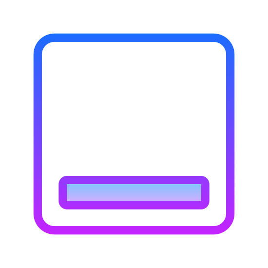 Minimalizuj okno icon. This is a very simple icon that is composed of a square with slightly rounded corners. Inside the square is a thin rectangle with rounded corners. It is placed near the bottom of the larger square to represent the handle of a window.