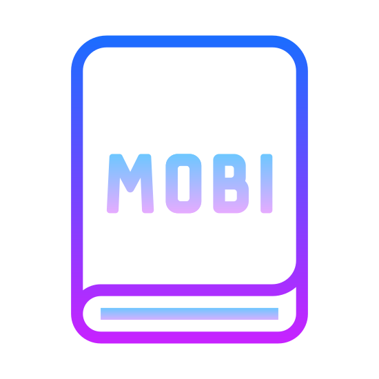 MOBI icon. This is an image of a book like shape.  On top of the book are the capital letters MOBI.  The book itself is rounded and has no lines indicating that it has pages.
