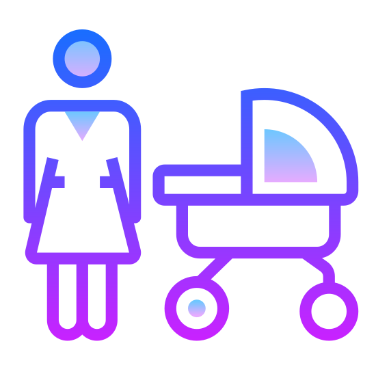 Mama icon. The icon shows a mother standing next to her baby in a stroller. The mother is wearing a blouse, and the stroller is round. The stroller has a hood at the top that can be lowered to block the sun.
