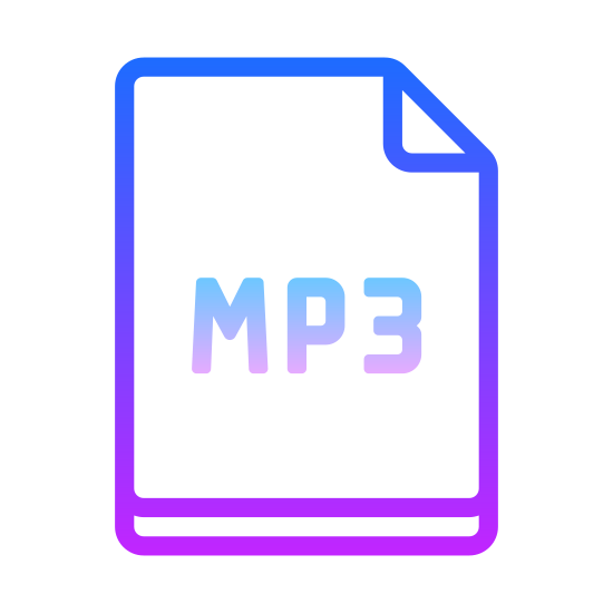 MP3 icon. An MP3 icon is represented by a piece of paper that is rectangular shaped and it is folded in the corner. In the center of the piece of paper it will say MP3. It is represented with a piece of paper because of sheet music.