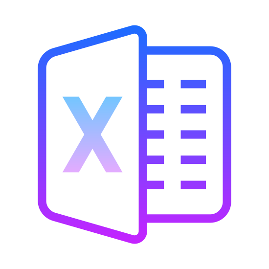 MS Excel icon. There are two papers that look like a vertical greeting card. In the middle on one side, there is a big X. On the other side there are lines illustrating writing on the paper. This is a black and white picture with no color.