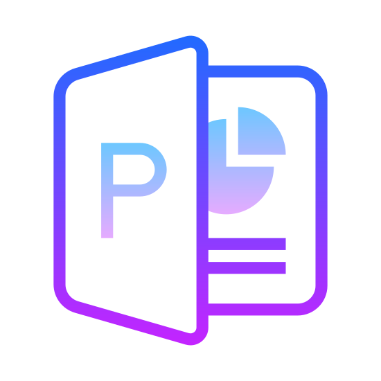 Microsoft PowerPoint icon. This is a picture of a presentation with the capital letter P on the front page. the page behind is shows a pacman shaped symbol with a small triangle, representing a graph of some sort. there is a line underneath the graph
