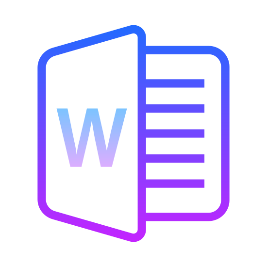 MS Word icon. This is a picture of an icon with the capital letter W on it's front. the page behind it shows four lines of writing, representing a word document. the page with the W is being turned away from the page behind it