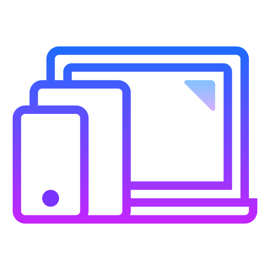 Multiple Devices icon. The icon signifies multiple devices. A large screen is in the back, presumably a laptop, is in the back. In front of the laptop, a smartphone is in the right corner and a tablet is placed in the left.