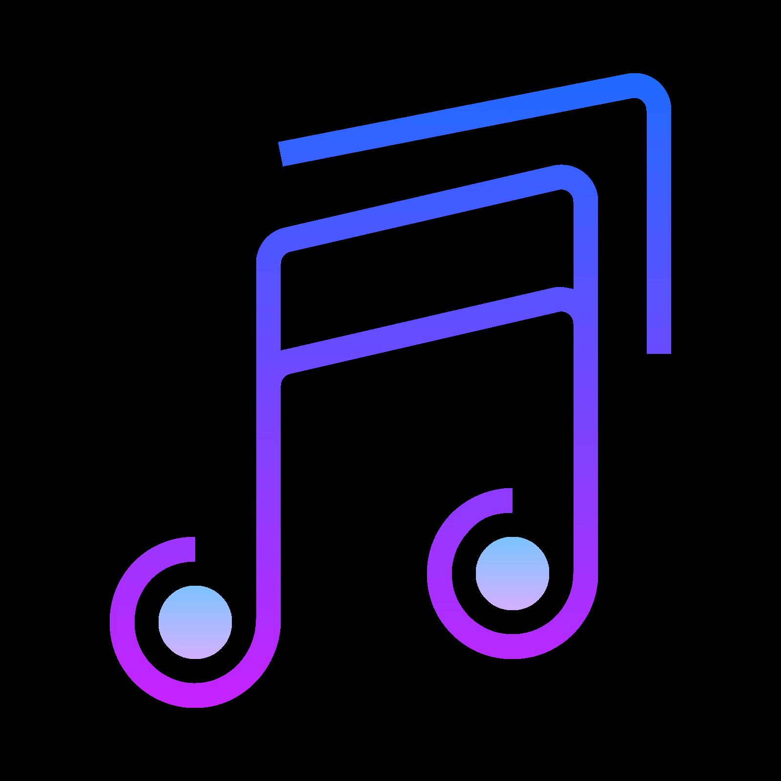 音符 icon. This is a drawing of a musical note. There are two notes on the drawing and the one on the left is slightly lower than the one on the right side.