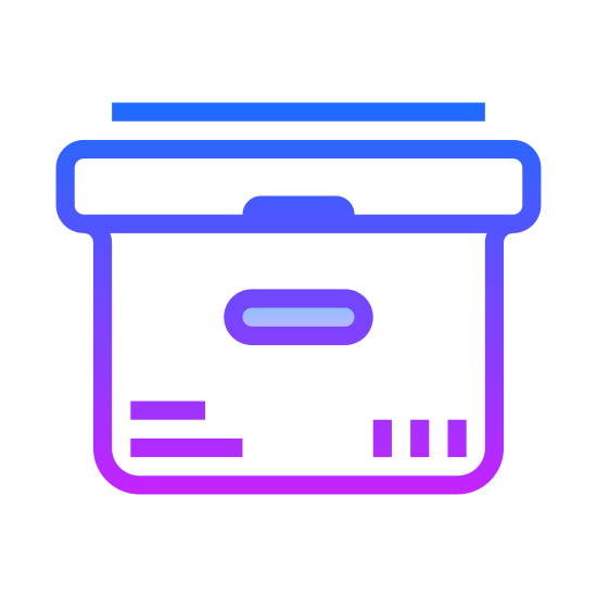 New Product icon. It's a logo of an upright packaging box with closed box flaps. There is a cutout on its side which allows one to grip the box without lifting from its bottom.