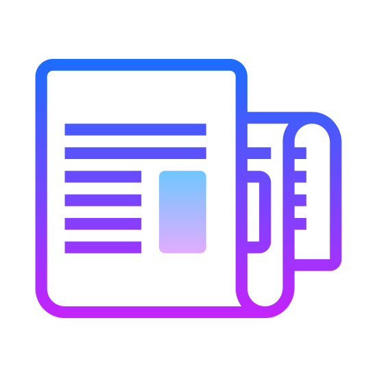 Nouvelles icon. It square with the back end folded over twice. The front looks like news print on a long sheet with the whole thing folded in thirds. It basically looks like a folded up newspaper that's ready to be tossed on a porch.