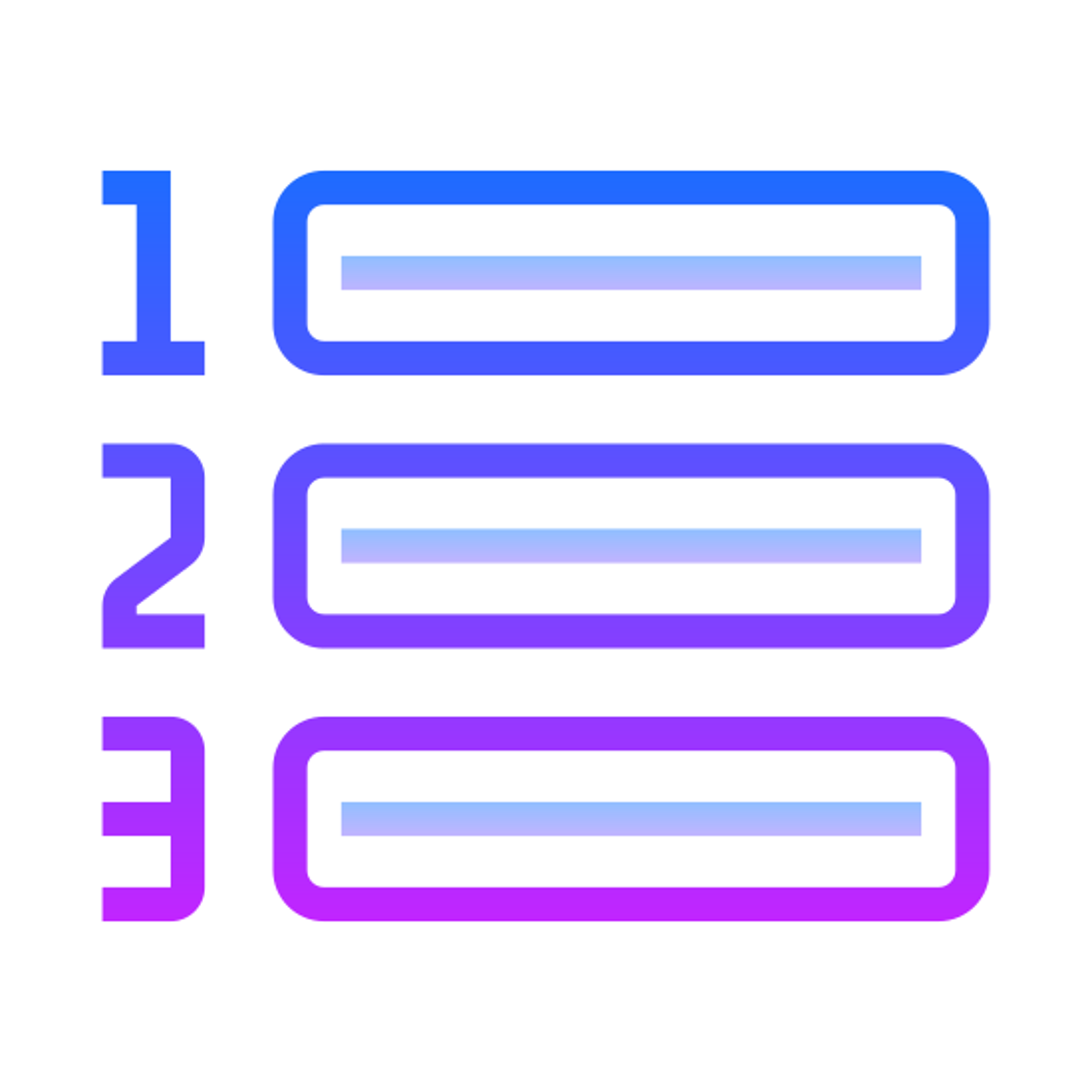 番号付きリスト icon. This icon is depicting a numbered list. Each line of the list is ordered one-through-three and is horizontally structured with a line following each number. The numbers one through three are trending downward.