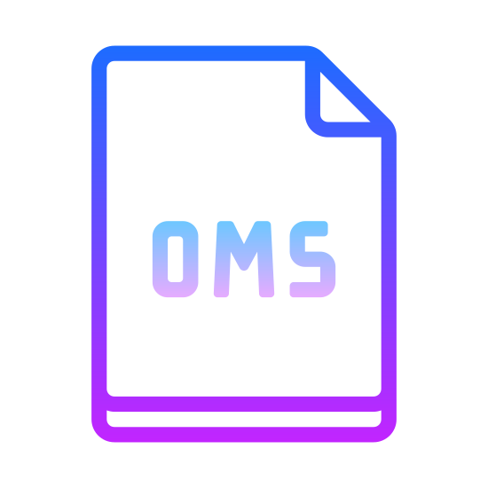 OSM icon. The icon is a rectangle that looks  like a piece of copy paper standing upright. The  top right corner is folded  down on thr front . The letters OSM are on the center of the paper.