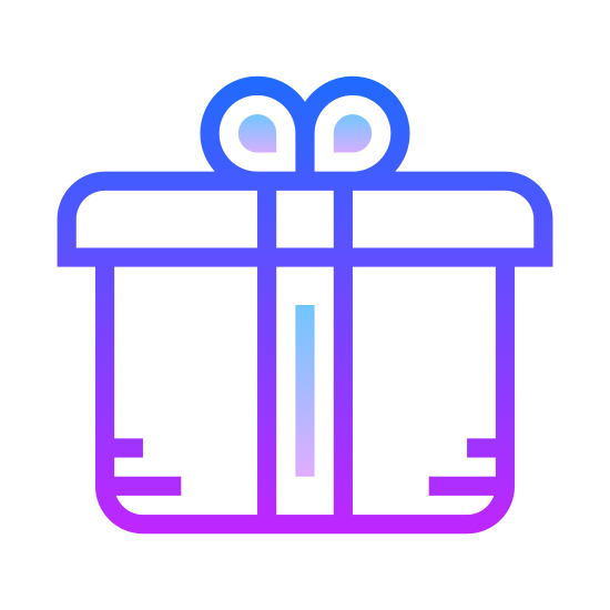 Opakowanie icon. It's a logo of a package or a present. It's a box with a slightly fatter lid on it. Going up from the middle bottom to top is a thin line representing ribbon and then on top are four small lines sprouting out representing a bow on top.
