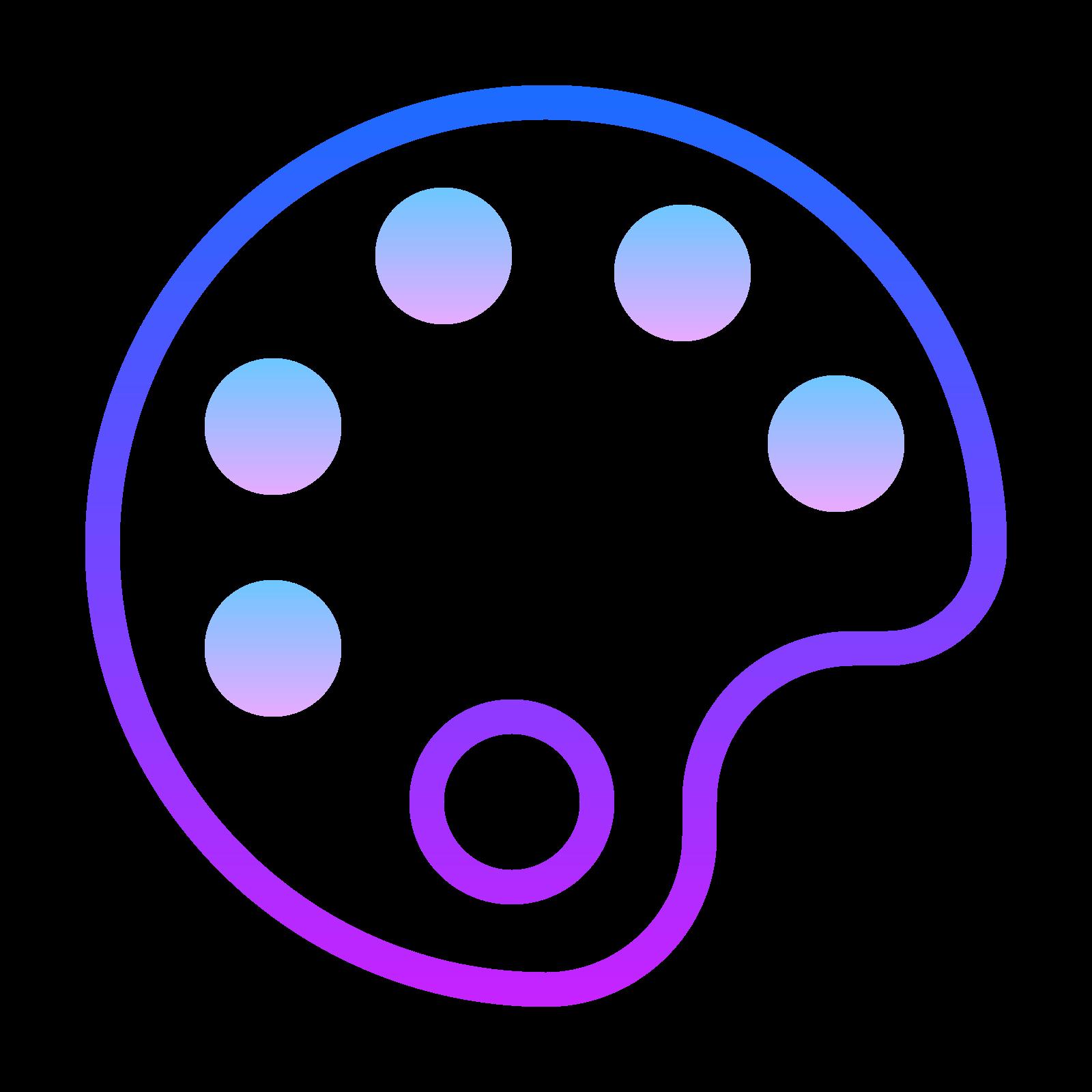 涂料调色 icon. The icon is shaped like an oval that slightly resembles the letter C. Inside of it there are five circle shapes that almost go completely around it if it wasn't for the missing circle towards the middle right.