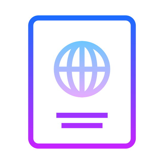 Паспорт icon. This is a drawing of a passbook that has some sort of a circular icon in the middle that may be representing a globe. Under the globe there is a long black line going from left to right.