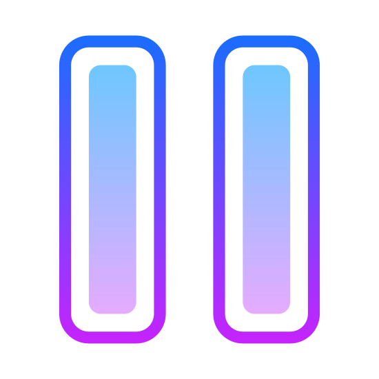 Pause icon. There are two rectangles of equal length, width, and height. They both contain the same width outline. They are placed parallel to each other and are both pointed north-south or vertically, as opposed to horizontally.