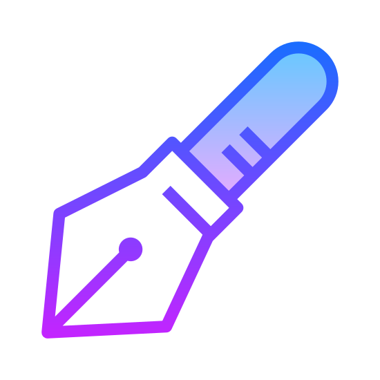 Pen icon. It's the tip of a pen. It is pointed, facing down and angled towards the left. It seems to be sharp, like an old-fashioned pen that would be dipped in ink.