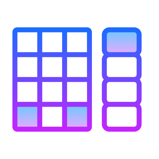 Teclado de código PIN icon. The icon consists of two rectangular objects of equal height but different widths. The object on the left has a rectangular outer shape with four rows and three columns of squares arranged in a grid. The object on the right consists of four rectangles with rounded corners that are wider than they are long and are all stacked.