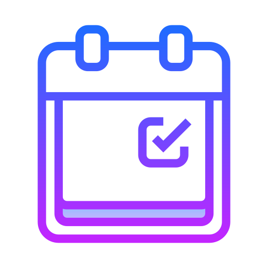Kalendarz planner icon. This is a picture of a small planner that is closed. On the front, it has a small square in the bottom right hand corner. There are two small rings at the top that hold it together.