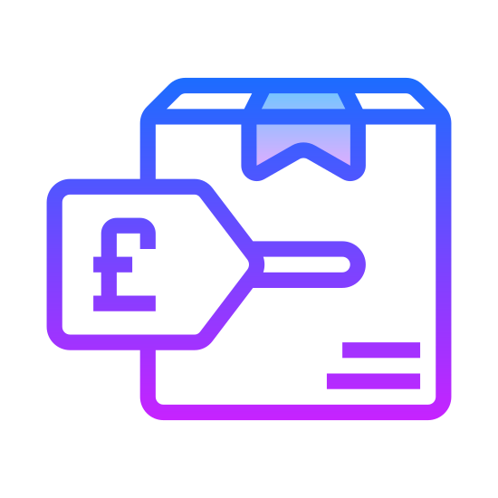 Price Tag Pound icon. It's a logo for a price tag for the British pound. The label is facing up and to the right. It has a hole punched through the top and a British pound sign representing their currency on the label.