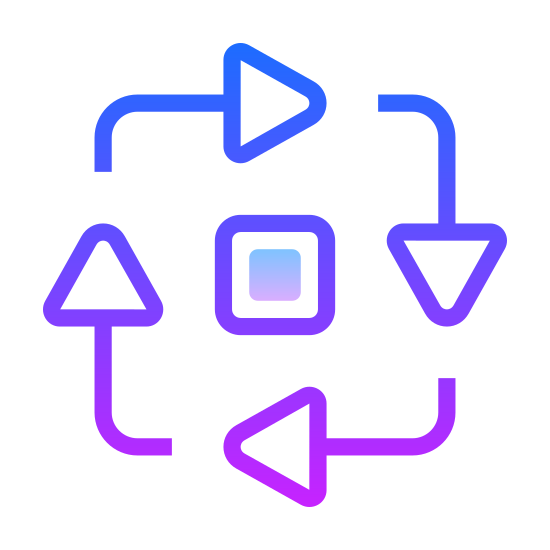 Proces icon. This icon is just 4 arrow with long tails forming a circle. The arrows are going in a clockwise direction starting from the top, going to the right, then bottom, then going up.