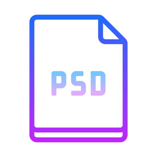 PSD icon. The icon shows a sheet of paper with a folded right corner that would represent a document stored on a computer. The sheet of paper has the letters PSD displayed prominently in large print that describes the file type.