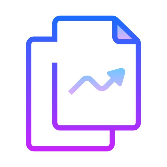 """Oceny icon. It's a logo representing an upwards rating trend. There are two """"pages"""", stacked one above the other, with the bottom sheet stacked slightly to the right and under the top sheet, with a an arrow pointing up and to the right, with a small downward trend in the middle of the top sheet."""