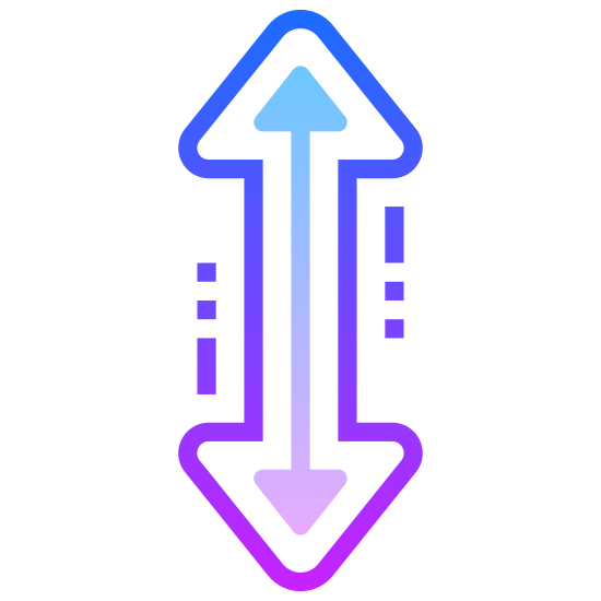 Zmiana rozmiaru w pionie icon. There is a single vertical arrow that has two arrow heads, each arrow head is pointing in an opposite direction with one of them going up and one of them going down.