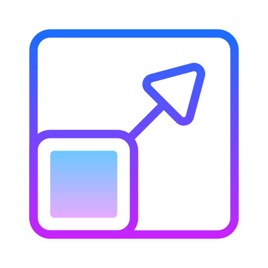 Resize icon. There is a square with a solid stroke with an arrow coming out of the top right corner, but all of this is enclosed in a larger square which has a dotted stroke, except for the bottom left quarter of the square, where the original square is solid.