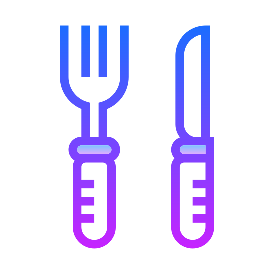 Restaurant icon. It's a logo for restaurants that has been reduced into a fork and a knife. The fork has three prongs and rounded handle. The knife is in the shape of a butter knife with no teeth and has a rounded handle to match the fork.