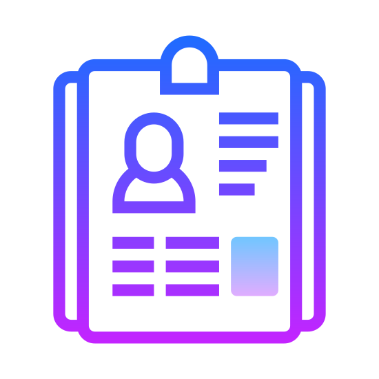 Resume icon. This is a picture of a piece of paper with lines of writing on it, and a tiny picture of a man's chest/face on the top left hand side. the writing by the head is two lines, while the rest of the paper has six lines of writing.