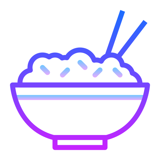 Rice Bowl icon. It's a logo of Rice Bowl reduced to an image of a bowl of rice with two chop sticks sticking out. It looks like the logo of a Chinese restaurant nearby my house.