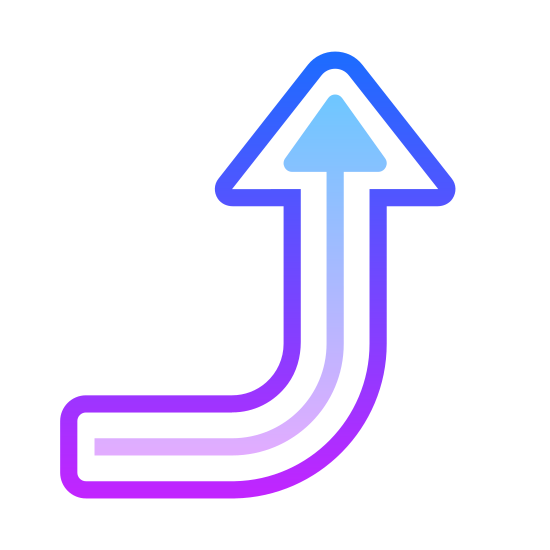 Right Up 2 icon. It's an arrow pointing to the upper right direction. It basically starts out a flat line, then curves upward and has arrow heads on the tip of it, giving the idea that were pointing to the upper right direction.