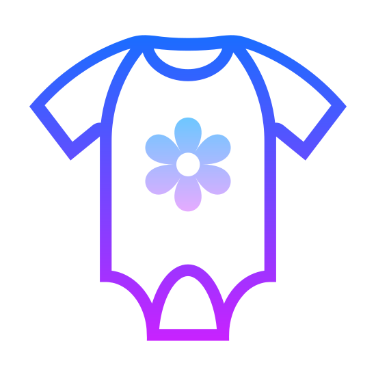 Romper icon. There's a star within a star.  The outside star has rounded edges and looks more like a flower and the inside star looks like an asterisk.  Both are centered on what appears to be a onesie for babies.