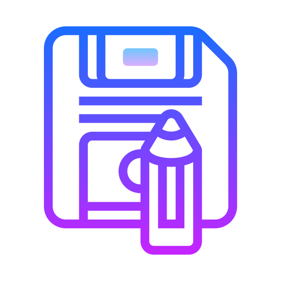 Zapisz jako icon. This is a picture of a floppy disk with a pencil on top, that seems to be writing something. The disk has a chipped side on it's top right corner. There is no writing on the disk.