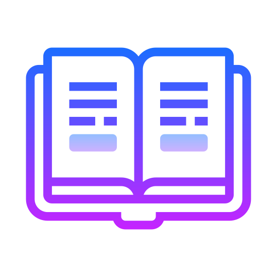 Study icon. There is a book open in the middle of two pages. On the left page there is four descending horizontal lines, and next to each line are some dots. On the right page there is three descending horizontal lines each with dots next to them as well.