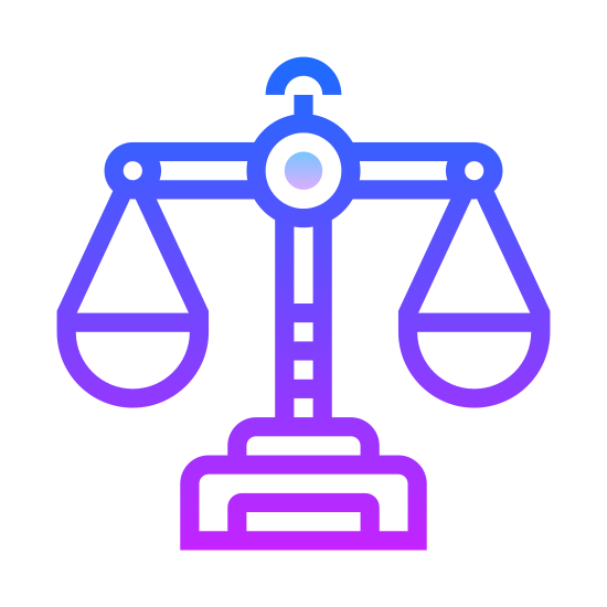 Waga icon. It's a drawing of the scales of justice.  Its a drawing of an old mechanical scale with one side of the scale lower than the other to indicate that a weight has been placed on that side.
