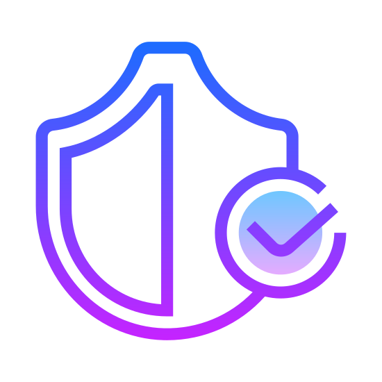 Protect icon. The universal icon for Windows Defender, security checked. The shape of an old medieval shield, a point at the bottom, curving outward and upward on either side, then making and angle and curving back toward the point at the top. There's a check mark in the middle.