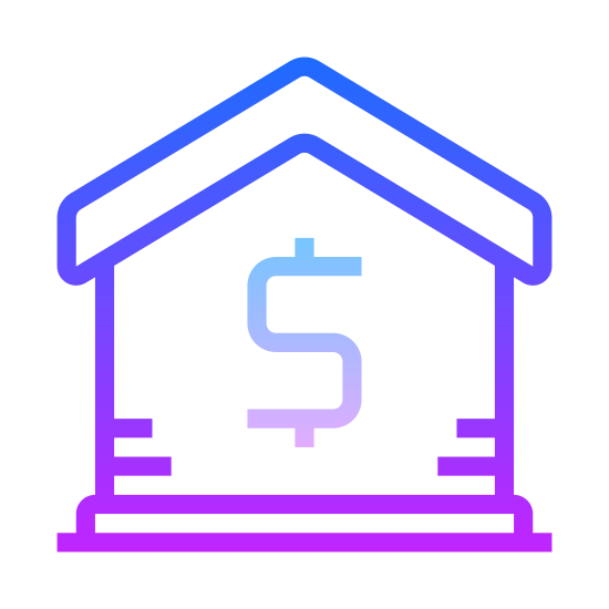Rent icon. This is a picture of a house with a thin roof. you cannot see windows or a door, but a dollar sign in the center of the house. the roof of the house is pointed upwards.