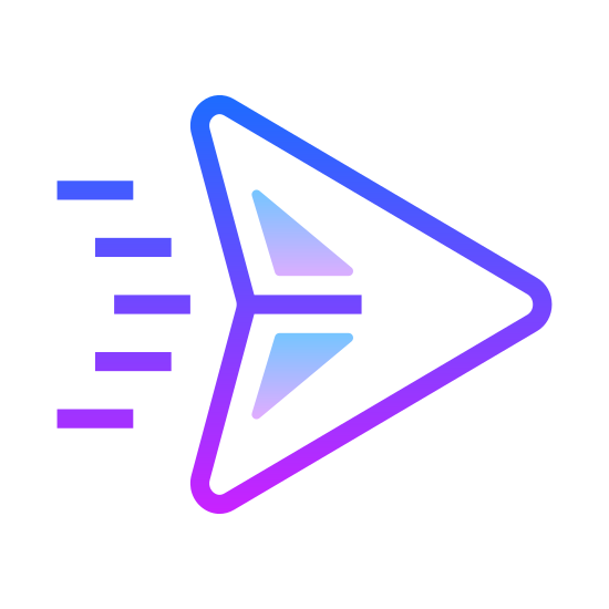 Sent icon. The logo is shaped like a triangle facing diagonally up and right. The triangle's base is slightly dented in giving it the appearance of an arrowhead. A line runs down the center of the triangle splitting it into two halves.