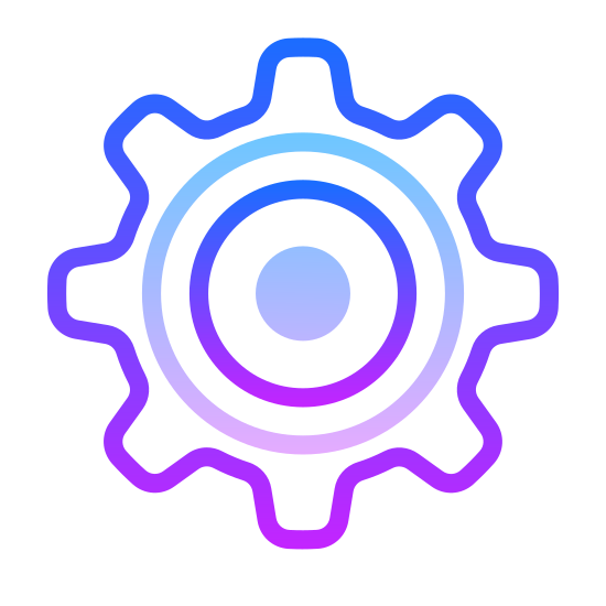Настройки icon. This icon represents settings.  It is shaped like a ship wheel.  A large circular shape with eight rectangle like protrusions go around the entire object.  In the middle is a small circle that is placed directly in the center.