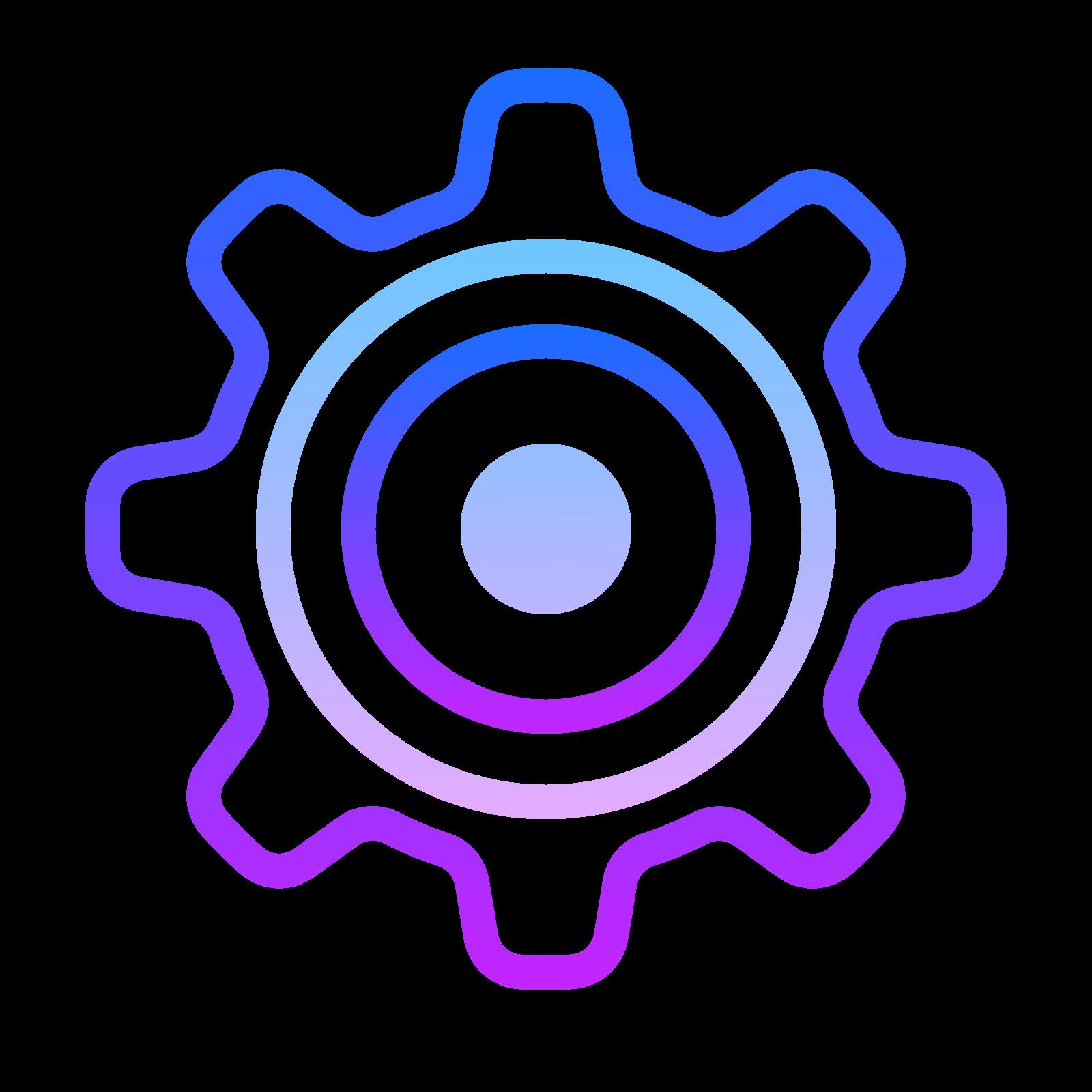 设置 icon. This icon represents settings.  It is shaped like a ship wheel.  A large circular shape with eight rectangle like protrusions go around the entire object.  In the middle is a small circle that is placed directly in the center.