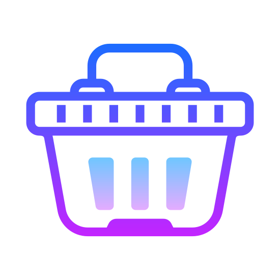 Cesta de compras icon. It is a shopping basket used at the store when only getting a few items. It has two handles and is slotted on the sides. you can fit 4-5 medium size groceries in it.