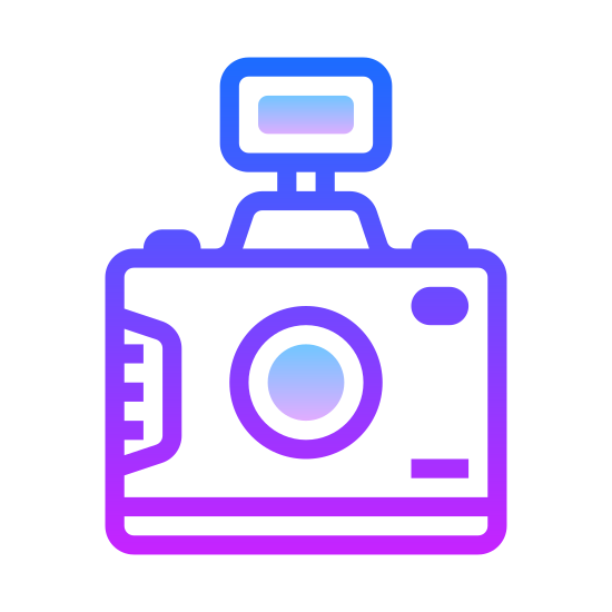 SLR Camera icon. There is a square with curved edges. On the top of the square there are two areas that protrude. There is also a circle inside the square to depict a camera lens as well as a small dot in the upper right corner.