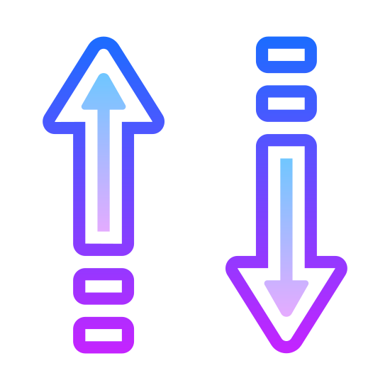 Up Down Arrow  icon. The icon has two vertical arrows facing in opposite directions. The one on the left is pointing up and the one on the right is pointing down. Each arrow has two dots located behind them at the tail.
